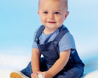 Baby Boy Overalls Pattern, Baby Girls Jumper Pattern, McCall's Sewing Pattern 7038,  Sz 8 to 29 lbs