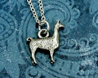 Llama Necklace, Silver Llama Charm on a Silver Cable Chain