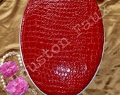 "SALE! ~ You get this one! / Gator - Croco Embossed Glossy RED Toilet Seat  ~ 18"" Elongated seat"