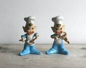 Salt Pepper Shakers Pixie Elves Blue Suits White Chef Hats