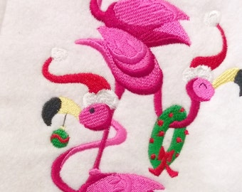Flamingo Felt Christmas Stocking