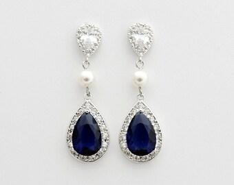 Blue Wedding Earrings Something Blue Dark Sapphire Blue Crystal Earrings Swarovski Pearls Blue Cubic Zirconia Wedding Jewelry, Livia