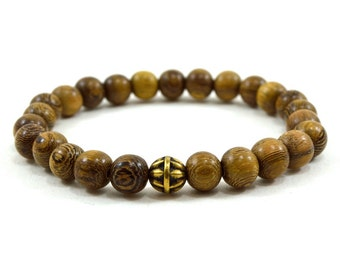 Mens brown robles wooden beaded stretch bracelet with antique gold bead