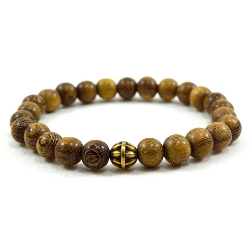 Antique mens bracelets : Mens brown robles wooden beaded stretch bracelet with antique