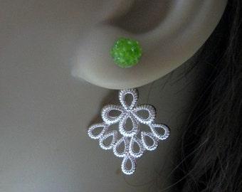 Silver Peacock Feather Ear Jackets, Green Druzy Front Back Earrings, Custom Reverse Earrings, Stained Glass Posts