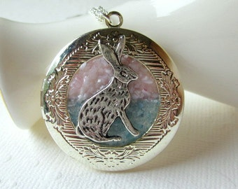Rabbit Necklace Rabbit Locket Bunny Rabbit Jewelry Pink Blue Stained Glass Alice in Wonderland Silver Hare Baby Bunnies Locket
