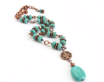 Turquoise & Copper Southwestern Necklace - Wire-Wrapped Artisan Necklace - Blue Howlite Stones - Turquoise Jewelry