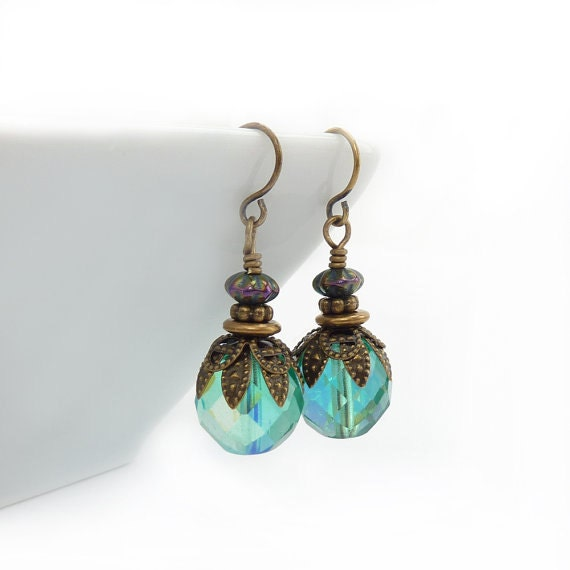 Aqua Boho Earrings - Faceted Czech Glass - Vintage Style Bronze - Turquoise Dangle Earrings