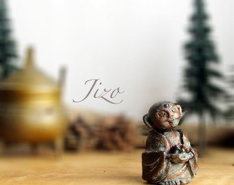 Miniature Jizo Statue - Handmade Clay Altar Piece - Choice of Patina Finish and Crystal- Guardian of Children, Women, Travelers and Voyagers