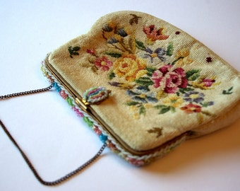 1950s petit point vintage purse with beaded frame