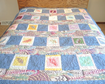 Queen Size Quilt, Embroidered Feathers Quilt, Bedding, Blankets & Throws, Home and Living