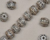 Rustic Vintage Rhinestone 10mm Aged Silver Patina Black Diamond Filigree Beads 10 or 20 Pieces