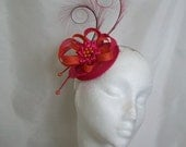 Cerise Pink and Orange Pheasant Curl Feather Sinamay Fascinator Mini Hat - 'Custom Made To Order' for a Wedding or the Derby