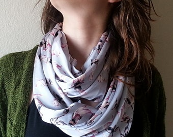 Animal print scarf, Gray Bird Scarf Gray Bird Print Scarf Infinity Scarf Loop Scarf Fashion Accessories Woman gift