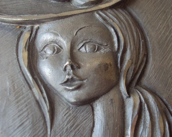 Vintage Hand Carved Italian Peltro Pewter Picture Portrait of Beautiful Young Lady