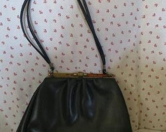RETRO mod  1960s  navy  vinyl kelly shoulder   handbag  tortoise bakelite  lucite top closure