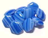 Cobalt Blue and White Slag Style Vintage Glass Buttons 11mm Set 10 Square Buttons