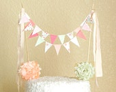 Cake Bunting, Cake Topper, Cake Banner, Bunting Cake Topper, Smash Cake Topper, Bunting, Circus Cake Topper, Coral and Mint, Mint to Be