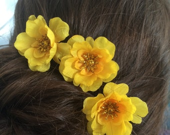 Hair Pin Set of 3 Sunshine Yellow Flower Handmade Bun Chignon Bobby Hair Pin Prom Wedding, Bridesmaid Flower Girl Special Occasion