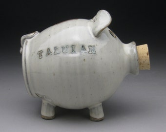 Personalized Wedding Piggy Bank - White