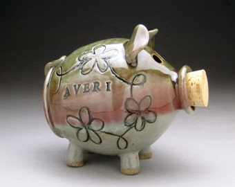 Personalized Piggy Bank with Whimsical Flowers - Made to Order
