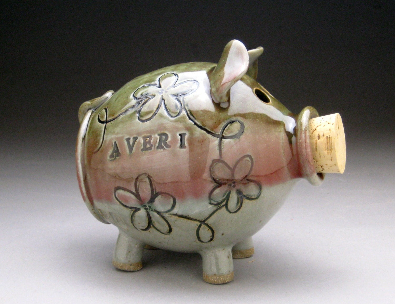 Personalized pink green ceramic piggy bank with whimsical Decorative piggy banks for adults
