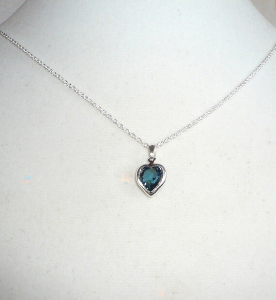 Tiny Heart Necklace December birthstone dark blue zircon