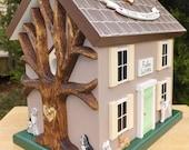 Custom order for Nina Small Wedding Card Box Birdhouse with Heart Carved Tree