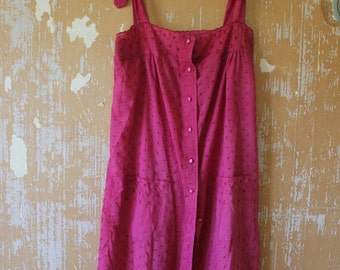 vintage. 60s Pink Cotton Casual Dress // M