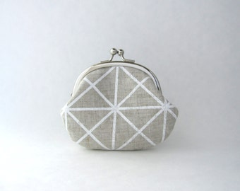 Frame Coin Purse / Change Pouch  - White Grid on organic natural linen