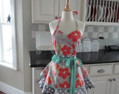 Cute for Thanksgiving ~Tangerine, Aqua and Gray ~ Sadie Style ~ Women's Apron ~ 4RetroSisters