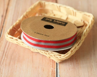 SLATE Grey and Scarlet RED Stripe Grossgrain ribbon reel 3m spool