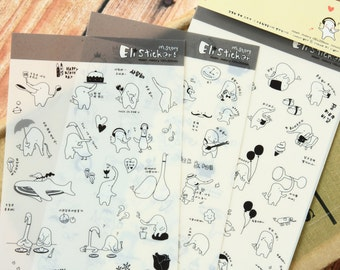 cute elephant and duck Mstory ELI stickers set