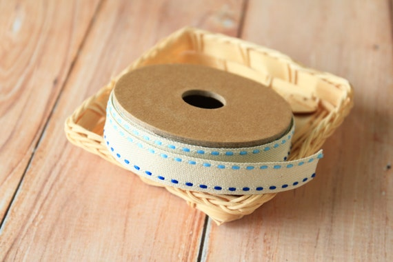 CREAM with Blue Stitches LINEN BLEND ribbon reel 3m