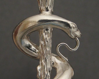 Large Staff of Asclepius Pendant