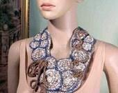 50% Sale - SIGNATURE NECKLACE/BIB - Wearable Fiber Art Jewelry, Freeform Crocheted, Adjustable Length