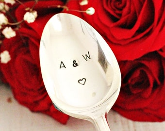 Personalized coffee spoon with heart stamped teaspoon