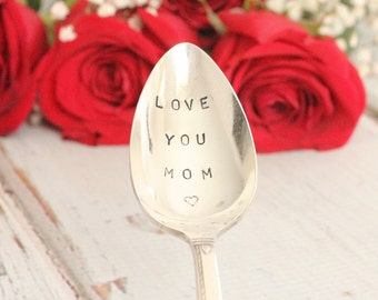 Stamped Teaspoon Love You Mom Silver Plate Spoon | Gifts for Mom under 25