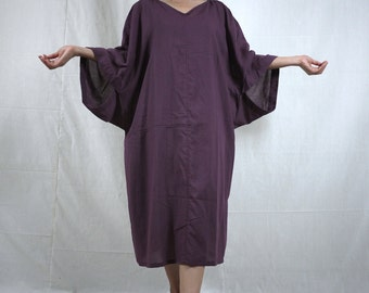 Boho Casual Elegant Plus Size /4 Sleeve Drop Shoulder V Neck Azo Free Color Dusty Plum Light Cotton Dress With Lining - SM688
