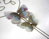 "Two butterflies necklace in organza fabric ""Caresse de papillons"" - 2128"