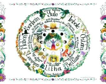 Wheel of the year greetings card Pagan art, Wiccan art, lunar cycle, hippy