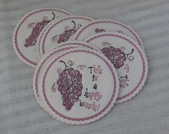 10 Vintage Grapes Coasters, This is a Happy Bunch!  White with Purple, Paper