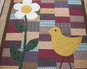 Quilted Appliqued Spring Chick and Flower in Plaid Homespun