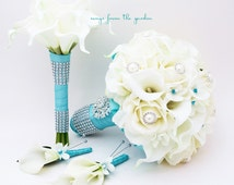 Bridal Bouquet Stephanotis Roses Calla Lily Aqua Blue Ribbon Bridesmaid Bouquet Groom's Groomsmen Boutonniere Real Touch Bouquet