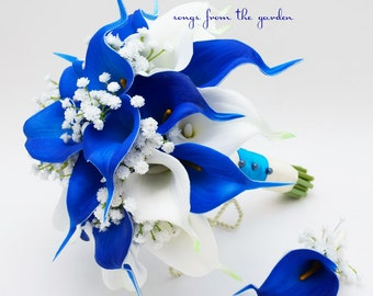 Blue and White Real Touch Calla Lily Bridal Bouquet Groom's Boutonniere Royal Blue White - Customize for Your Colors Real Touch Calla Lily
