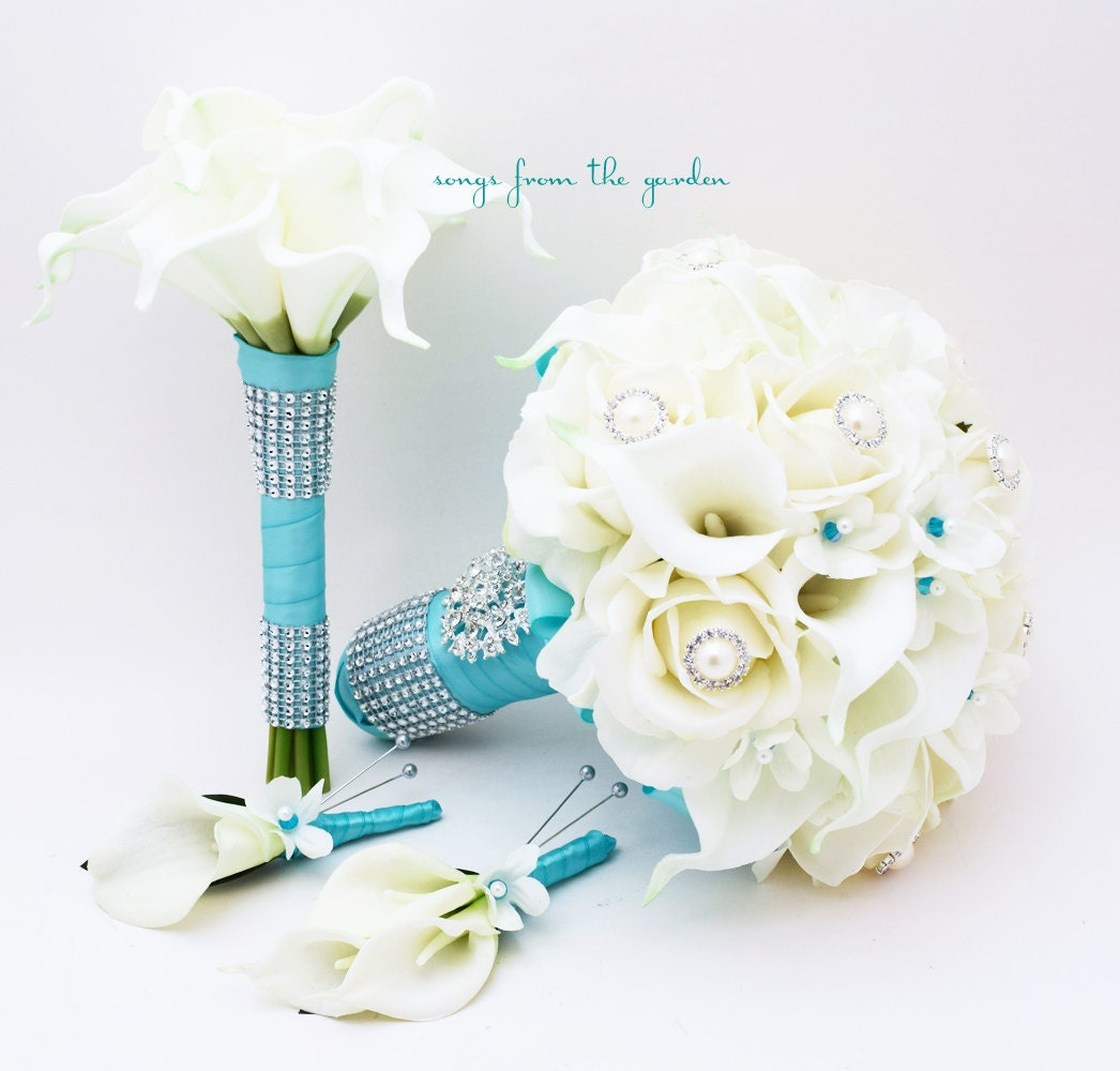bridal bouquet stephanotis roses calla lily aqua blue ribbon. Black Bedroom Furniture Sets. Home Design Ideas