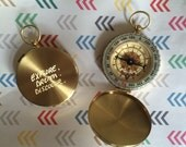 Explore Dream Discover Hand Engraved Gold Brass Compass...Perfect for Gifts for the Ones with Wanderlust in your Life!