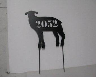 Lamb Address Sign Custom Metal Yard Art with Stakes