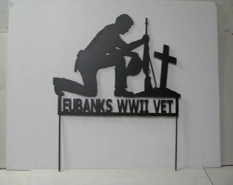 Soldier Praying Hat in Hand Customize Metal Yard Art Silhouette