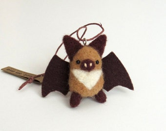 Miniature animal ornament : needle felted bat - light brown and dark brown